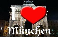 I love Matte München-Siegestor I (50cm x 75cm) - waschbar, rutschfest TOP-QUALITÄT