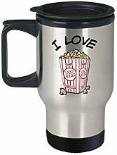 I Love Popcorn Becher Reisetasse Kaffeebecher mit