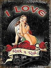 I love rock n rolle Est 1951. 50's sexy pin-up Rosen und vinyl. house, home, musik raum, bar, pub, cafe oder Geschäft. Joan Jett & die Blackhearts 1981 text von hit lied Metal/Stahl Wandschild - stahl, 30 x 40 cm