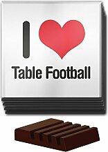 I love Tisch Fußball Set von 4Glas Untersetzer aus Holz Halter 1115