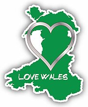 I Love Wales Map Silhouette - Self-Adhesive