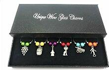 I love Wine Design Wein Glas Charms mit