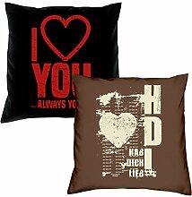 I love you Hab Dich lieb Kissen zum Valentinstag Geschenkidee Geburtstagsgeschenk im 2er Pack für Sie und Ihn