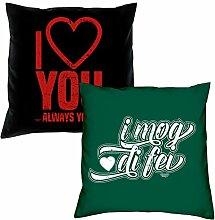 I love you I mog di fei Kissen zum Valentinstag Geschenkidee Geburtstagsgeschenk im 2er Pack für Sie und Ihn