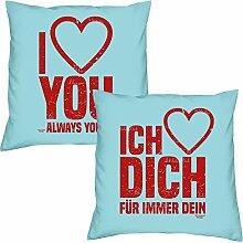 I love you Ich liebe Dich zum Valentinstag, Muttertag, Vatertag, Kissen, Dekokissen, Geschenkidee für Sie und Ihn