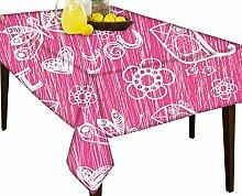 I love you Pink Muster Wasserabweisend Tischdecke Esstisch Cover Protector, Vinyl, multi, 51 x 60