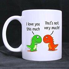 I love you this much Cute grün Dinosaurier Geschenk für Freund/Freundin–Funny Weiß Becher 313ml Kaffee Tassen, oder Tee Tasse Cool Geburtstag/Weihnachten Geschenke für Männer, Frauen, ihn, Jungen und Mädchen