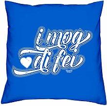 I mog di fei :: Kissen inkl. Füllung :: Romantische Geschenkidee für Verliebte Geschenk für Frauen & Männer Liebe Liebesbeweis Liebeskissen Farbe: royal-blau