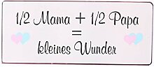 i.stHOME Blechschild - 1/2 Mama und 1/2 Papa