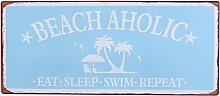 i.stHOME Blechschild - Beach Aholic, Retro Schild