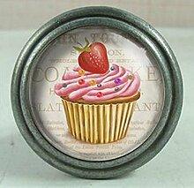 i.stHOME Möbelknopf Cupcake Erdbeere - Nostalgie Knauf Möbelgriff Eisen + Glas