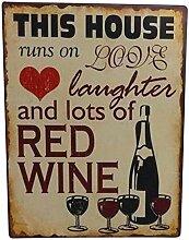 i.stHOME Nostalgie Blechschild Schild - Red Wine -