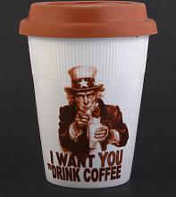 I WANT YOU Coffee-to-go Becher aus Porzellan