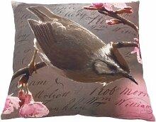 Ian Snow Kissenbezug, Design: Vogel und Blüte, Pink
