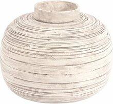 Ian Snow Vase, gesponnener Bambus, Weiß