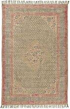 Ib Laursen - Läufer Teppich, Natur Pink / Blau Braun gemustert, B 120cm x L 180cm (6463-00)