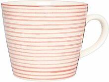 Ib Laursen - Tasse, Becher - Stripes - rot/creme - Steingut - Ø9,8xH8xL12,5cm