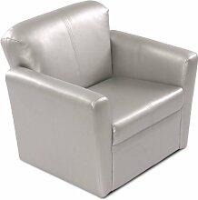IB-Style - Kindersessel | viele Farben wählbar | Lederimitat | abwaschbar | Kindermöbel Sessel Kindersitz Kindersofa Sofa - Farbe Silber