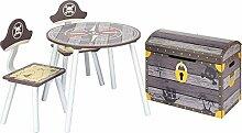IB-Style Kindersitzgruppe Pirate - 3 Kombinationen | 2X Stuhl 1x Tisch 1x Truhenbank/Spielzeugkiste Se