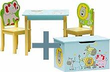 IB-Style - Kindersitzgruppe SAFARI   3 Kombinationen   4-er Set: 1x Tisch + 2x Stühle + 1x Truhenbank - Stuhl Truhenbank Kindermöbel Tisch Kindertisch Kinderstuhl