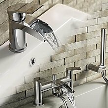 iBathUK Moderne Chrom-Badezimmer-Armatur, Wasserhahn Avis II E. Basin + Shower Bath Tap