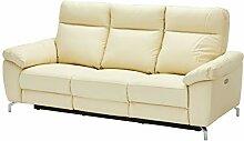 Ibbe Design Creme Leder 3er Sitzer Relaxsofa Couch