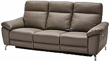 Ibbe Design Grau Leder 3er Sitzer Relaxsofa Couch