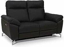 Ibbe Design Schwarz Leder 2er Sitzer Relaxsofa