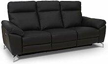 Ibbe Design Schwarz Leder 3er Sitzer Relaxsofa