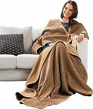 Ibena Kniedecke Baumwollmischung camel Größe 100x150 cm