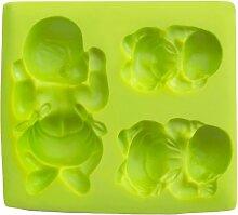 IBILI Fondant-3D-Backform Babies, Silikon, grün,