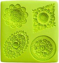 IBILI Fondant-3D-Backform Blumen, Silikon, grün,
