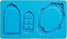 IBILI Fondant-3D-Backform Rahmen, Silikon, blau,
