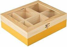IBILI Teebox mit 6 Fächern aus Pinienholz in