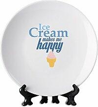 Ice cream makes me happy 6'' weiße Platte