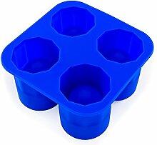 Ice Shot-Gläser, Silikon-Form, 4 Eis-Form, gefrorene Becher, Shots, Gin, Vodka und Whiskey, Party-Highlight, Schnee-Bar, Cookie-Shots, Schneaps, Likör, Drink, Feier, Eiswürfel, Farbe: Blau