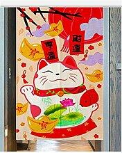 Icegrey Leinen Vorhang Japanische Noren Panels Kinder Schlafzimmer Tür Vorhang mit Zugstange Maneki Neko Rot,80 x 90 cm