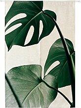 Icegrey Leinen Vorhang Japanische Noren Panels Kinder Schlafzimmer Tür Vorhang mit Zugstange Grün Blätter 4,85 x 120 cm