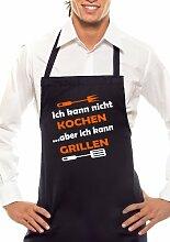 Ich kann nicht Kochen - Zweifarbig - Grillschürze Schwarz / Orange-Weiss