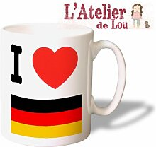 Ich liebe Deutschland Keramik Tasse Kaffeebecher - Originelle Geschenkidee - Spülmachinenfes