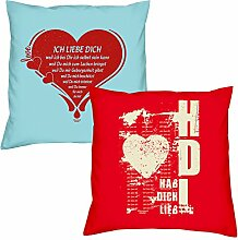 Ich liebe Dich Hab Dich lieb zum Valentinstag, Muttertag, Vatertag, Kissen, Dekokissen, Geschenkidee für Sie und Ihn