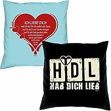 Ich liebe Dich HDL Hab Dich lieb zum Valentinstag, Muttertag, Vatertag, Kissen, Dekokissen, Geschenkidee für Sie und Ihn