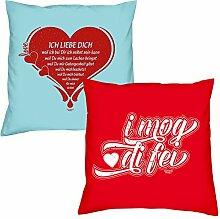 Ich liebe Dich I mog di fei zum Valentinstag, Muttertag, Vatertag, Kissen, Dekokissen, Geschenkidee für Sie und Ihn