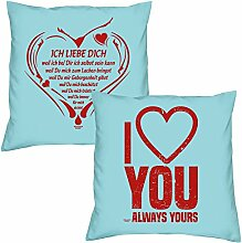 Ich liebe Dich weil I love you zum Valentinstag, Muttertag, Vatertag, Kissen, Dekokissen, Geschenkidee für Sie und Ihn