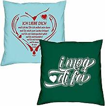 Ich liebe Dich weil I mog di fei zum Valentinstag, Muttertag, Vatertag, Kissen, Dekokissen, Geschenkidee für Sie und Ihn