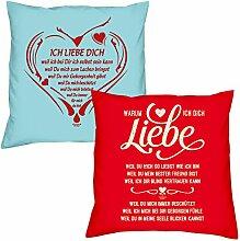 Ich liebe Dich weil Warum ich Dich liebe zum Valentinstag, Muttertag, Vatertag, Kissen, Dekokissen, Geschenkidee für Sie und Ihn