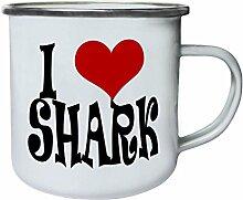 Ich liebe Hai Neuheit Retro, Zinn, Emaille
