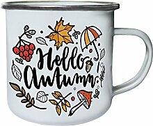 Ich Liebe Herbst Mädchen Retro, Zinn, Emaille