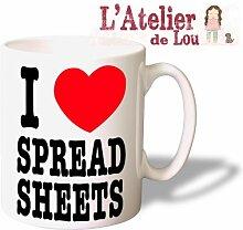 Ich Liebe - I Love Spreadsheets Mug keramisch Kaffeebecher - Originelle Geschenkidee - Spülmaschinefes