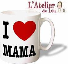 Ich liebe mama (I heart mama) Keramik Kaffeetasse mug Kaffeebecher - Originelle Geschenkidee - Spülmachinenfes